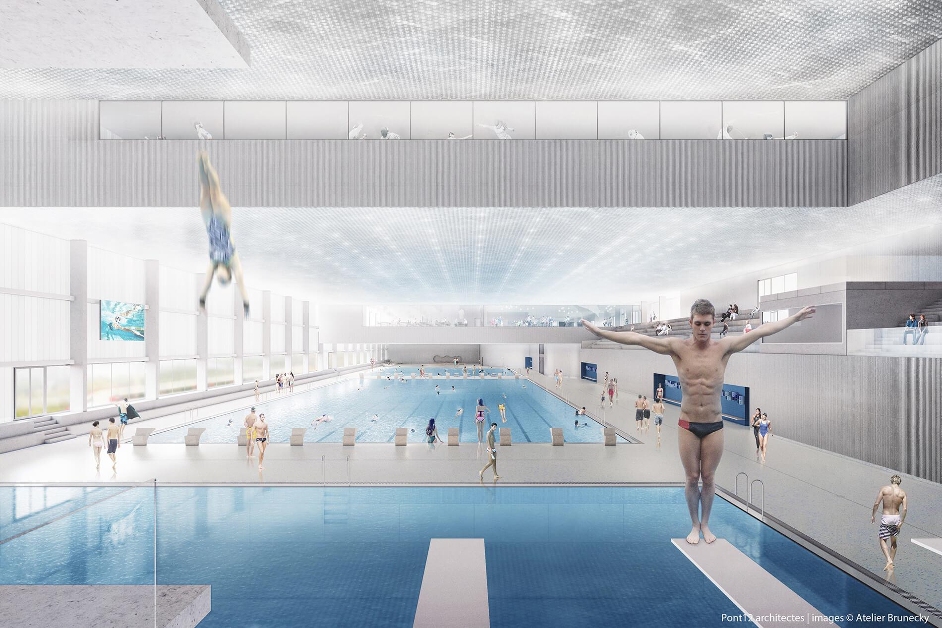 Image en 3D du futur centre aquatique de la Vaudoise aréna, avec plongeoir et ses 4 piscines