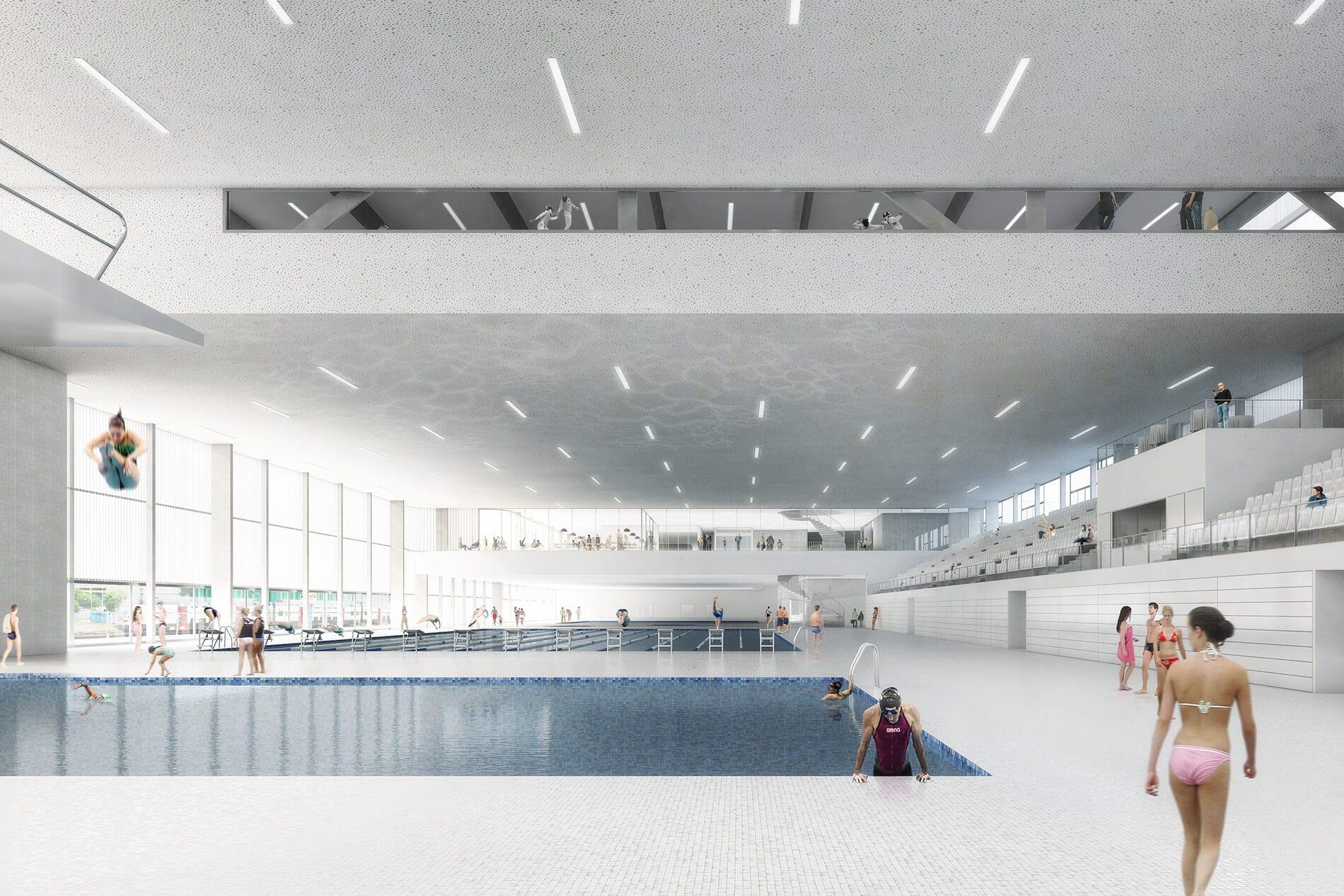 Image 3D du futur centre aquatique de la Vaudoise aréna