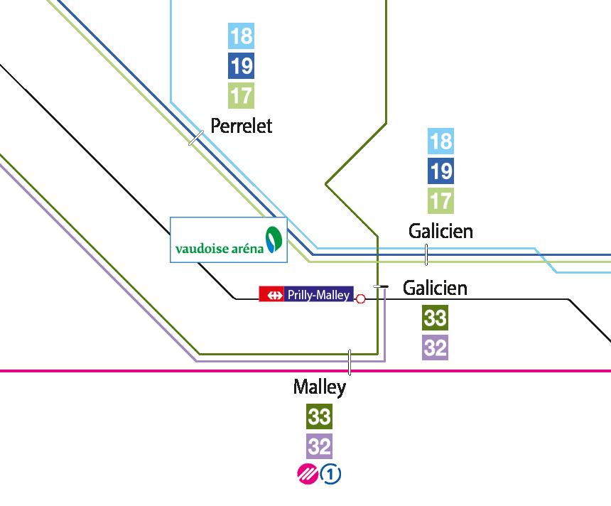 Plan d'accès en transport public pour venir à la Vaudoise aréna