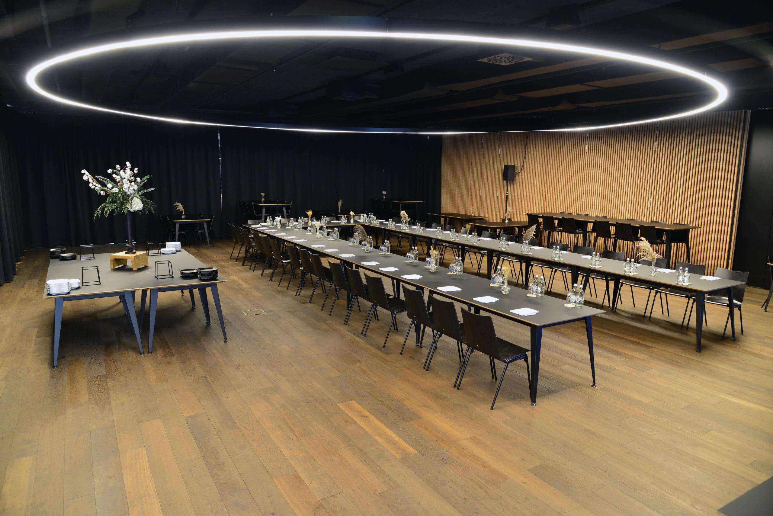 Espace capitale olympique de la Vaudoise aréna, mise en place séminaire