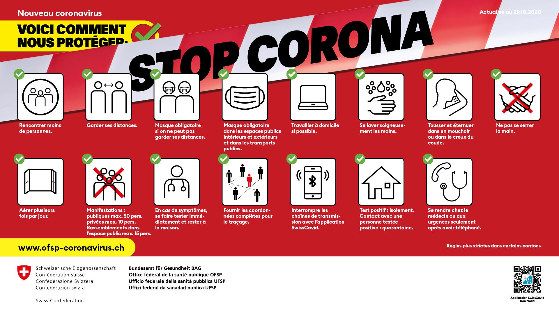 Règles d'hygiène et de conduite. L'Office fédéral de la santé publique recommande des mesures simples pour lutter contre la propagation du nouveau coronavirus.