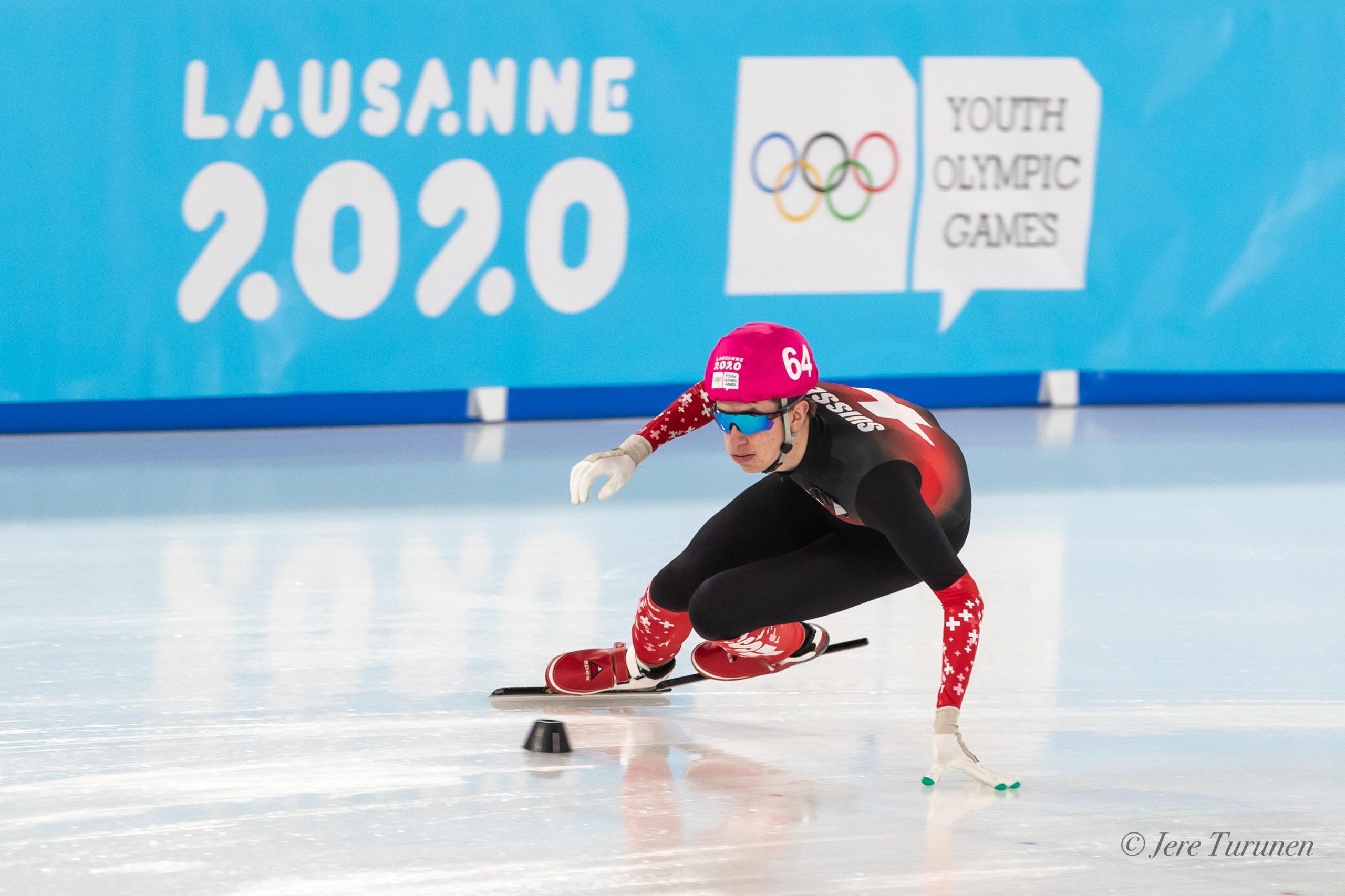 Thibault Métraux lors de sa course Short Track durant les Jeux Olympiques de la Jeunesse 2020 à Malley 2.0