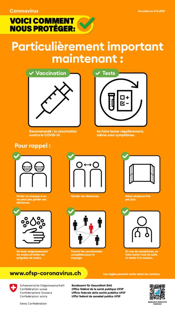 Règles d'hygiène et de conduite. au 31.05.2021 L'Office fédéral de la santé publique recommande des mesures simples pour lutter contre la propagation du nouveau coronavirus.