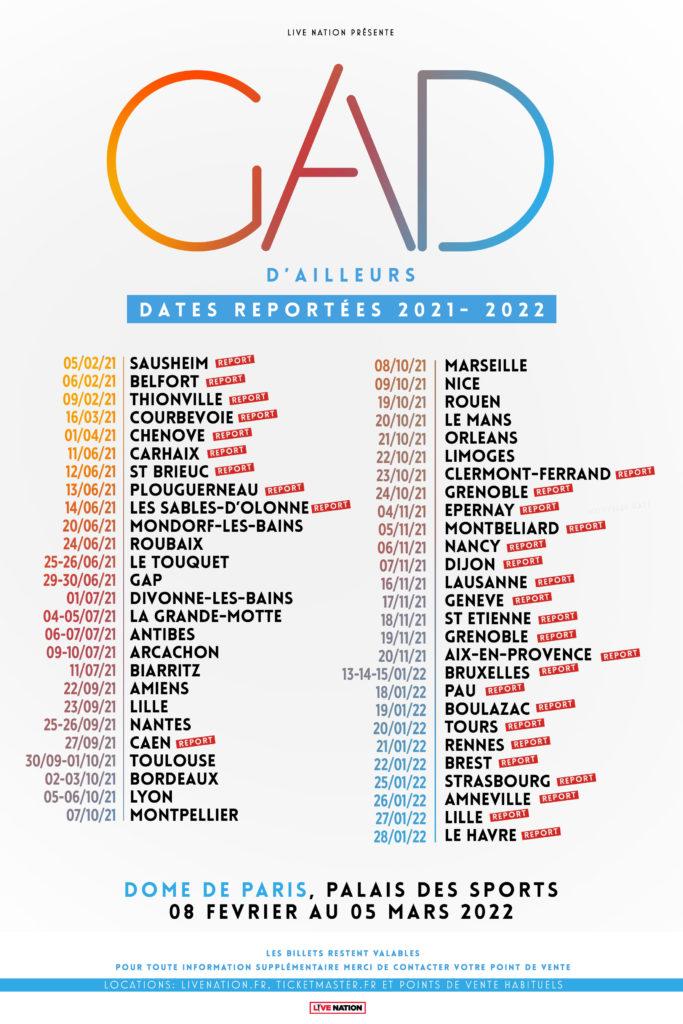 """Nouvelles dates de la tournée du spectacle """"d'ailleurs"""" de Gad Elmaleh. Inclus la date de report à la Vaudoise aréna."""