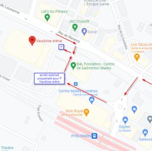 Accès parking Vaudoise aréna, attention indications google maps fausses